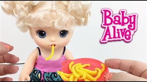 baby alive snacks snackin noodles baby doll unboxing details feeding