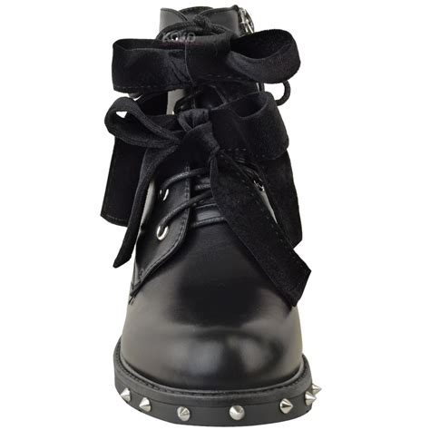 women s lace up biker boots new womens ladies studded lace up ankle boots buckle biker