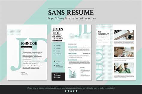Sans Resume  Cover Letter  Portfolio ~ Resume Templates on