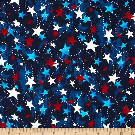 Quilting Fabric Usa by Made In The Usa White Blue Discount Designer