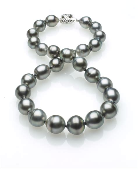 grey tahitian baroque pearl necklace 11mm x 13mm true aaa