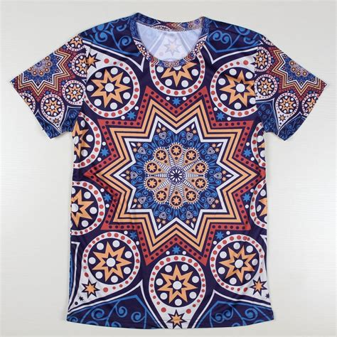 pattern shirt fashion creative fashion india pattern t shirts men phoenix flower