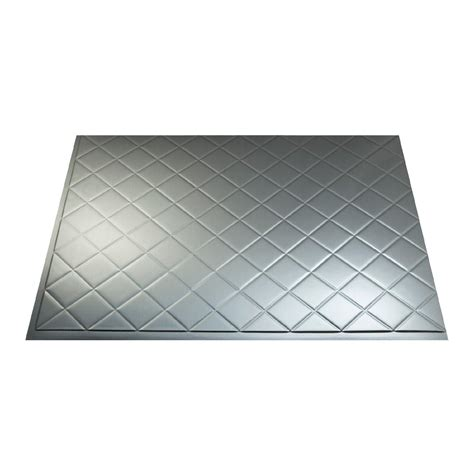fasade 18in x 24in quilted brushed aluminum backsplash