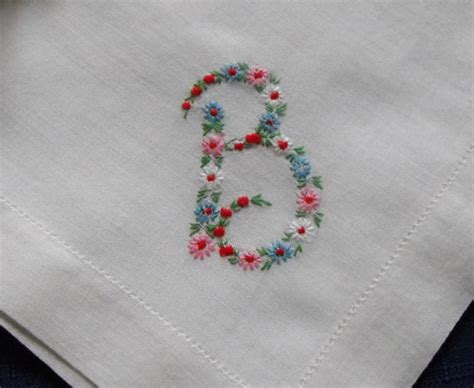up letter handkerchief monogram b hankie hanky embroidered flowers b by
