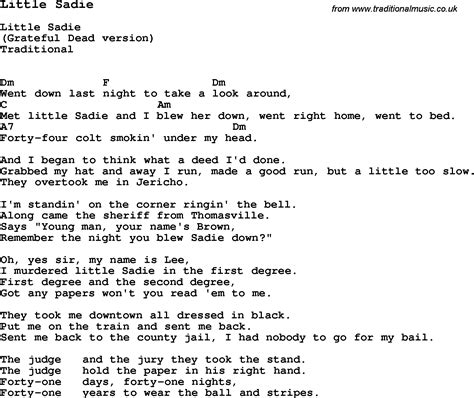 end game lyrics chords traditional song little sadie with chords tabs and lyrics