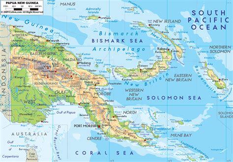 new guinea map physical map of papua new guinea ezilon maps