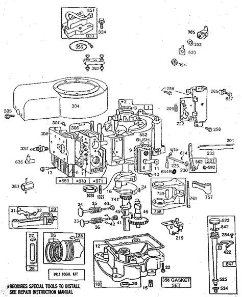 briggs and stratton engine parts diagram briggs stratton 11 hp briggs stratton engine parts