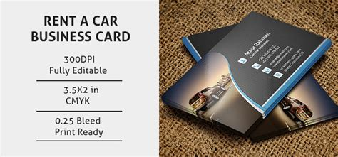 rent a car business card template rent a car business card