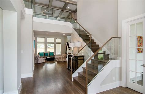 glass banister cost dallas glass railing cost staircase contemporary with