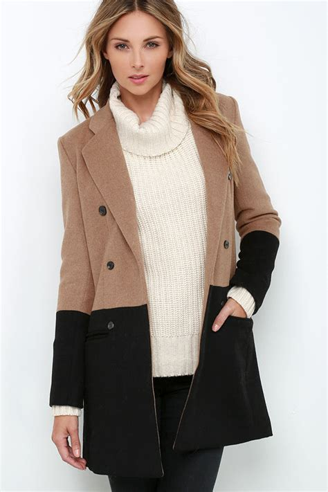 color block coat color block coat black and brown coat 154 00
