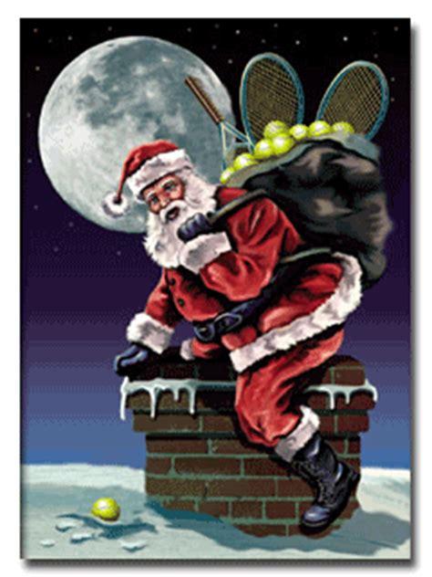 tennis christmas card santa going down chimney