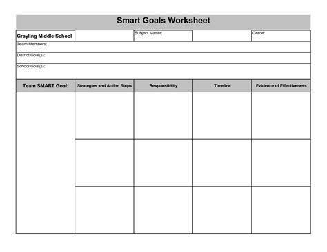 template for goals worksheet goals and objectives worksheet hunterhq free