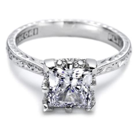 Engraved Engagement Rings by Tacori Engraved Platinum Engagement Ring 2504pre65