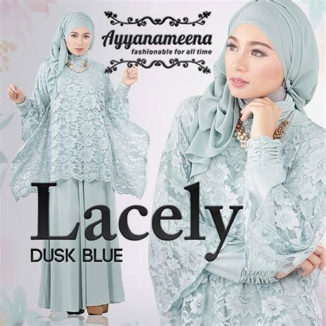 Wings Dres Resleting Depan Baju Busui Fashion Muslimah Simple lacely dusk blue baju muslim gamis modern