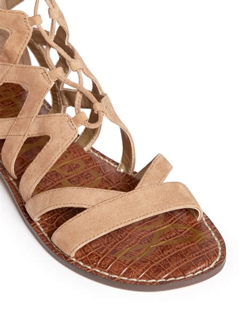 brown lace up sandals sam edelman gena lace up suede gladiator sandals in