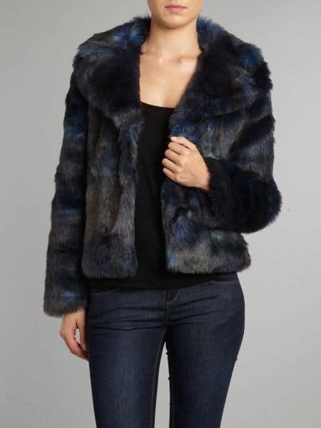 kenneth cole faux fur collar jacket  blue lyst