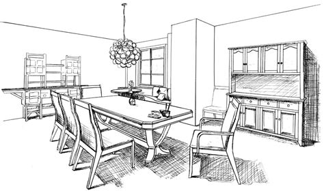 draw a room dining room drawing sketch coloring page