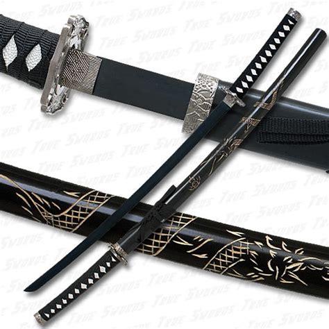 black katana sword w engraved scabbard black