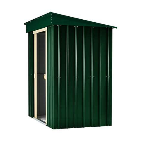lotus 5ft x 3ft pent roof shed in heritage green and
