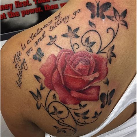 rose tattoo with quote 113 gorgeous butterfly tattoos that you must see