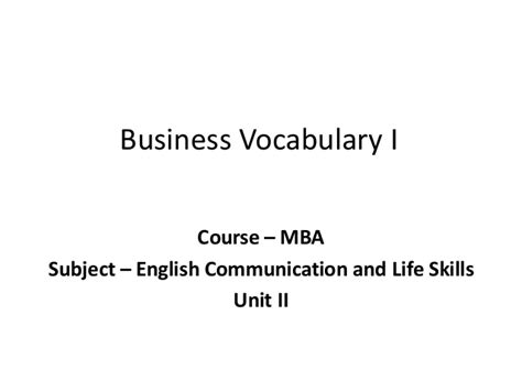 Business Mba Subject by Mba I Ecls U 2 Business Vocabulary I