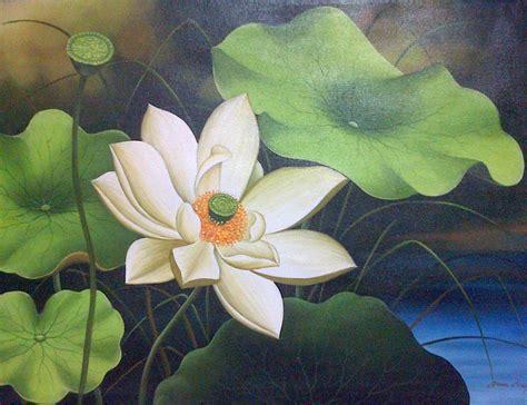 Lukisan Teratai Jual Lukisan Bunga Lotus Ari Lestawan