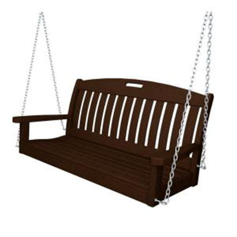 yard swing home depot polywood nautical 48 in mahogany patio swing ns48ma the