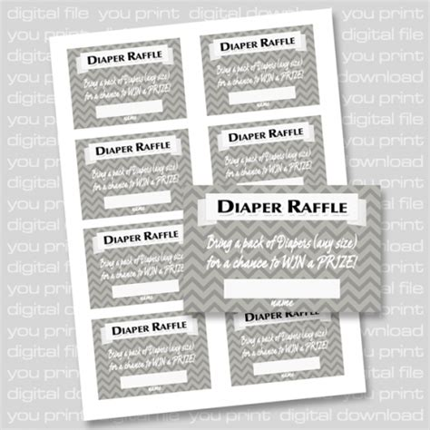 printable diaper raffle coupons grey chevron baby shower diaper raffle tickets printable