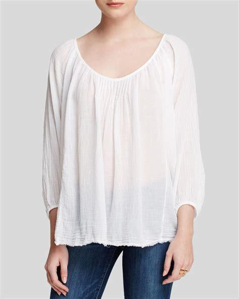 best cotton velvet by graham spencer top cotton gauze in white lyst