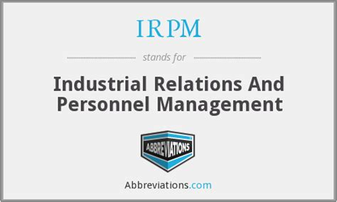 Mba In Personnel Management And Industrial Relations by Irpm Industrial Relations And Personnel Management