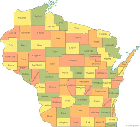 wisconsin counties map map of wisconsin