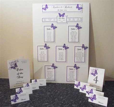 diy place cards template butterfly personalised a3 a2 wedding seating plan table planner