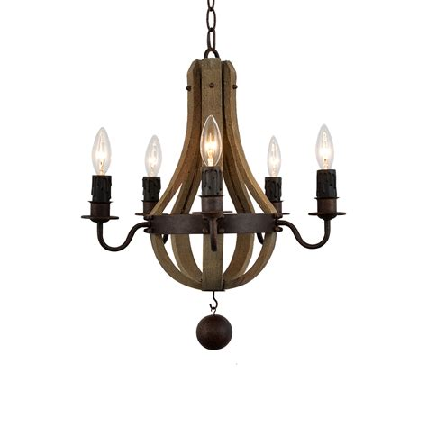 Wooden Chandeliers Lighting Led Iron Wooden Chandelier With Five Light E12 Bases Le 174