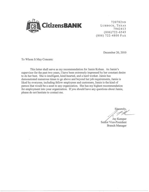 Recommendation Letter Bank Citizens Bank Letter Of Recommendation
