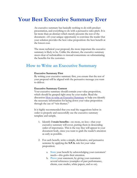 executive summary template download free premium