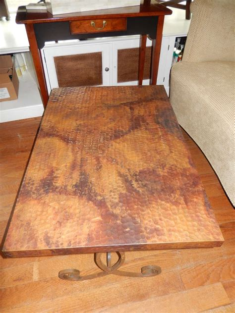 hammered copper table l hammered copper and iron coffee table at 1stdibs