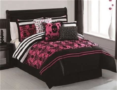 black white pink comforter twin girls teen pink black white hearts flowers skulls