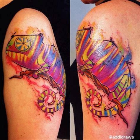 colorful chameleon tattoo pictures to pin on pinterest