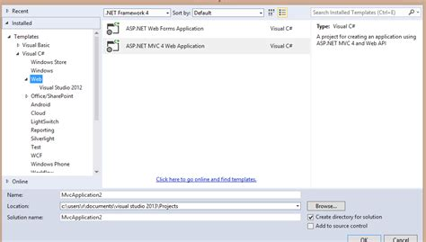 asp net mvc where is mvc 5 template in visual studio