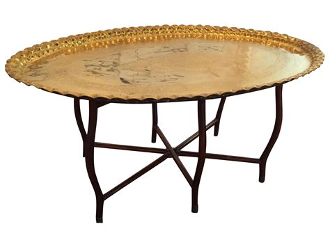 Large Coffee Table Trays Large Oval Mcm Brass Tray Coffee Table Chairish