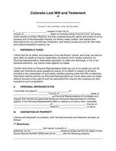 free colorado last will and testament template pdf