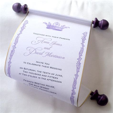 Paper Scroll Wedding Invitations by Royal Wedding Invitation Paper Scroll Invitation Crown