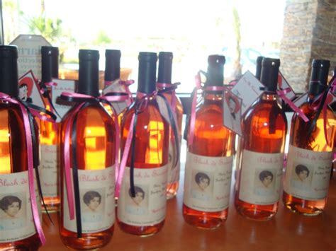 Giveaways For 60th Birthday Party - 60th birthday party favors made labels using mom s teenage photo and black pink color