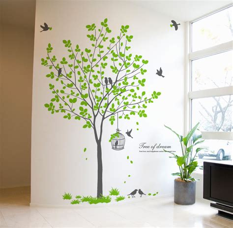 home decor wall art stickers 72 quot tall large tree wall decals removable birds cage vinyl