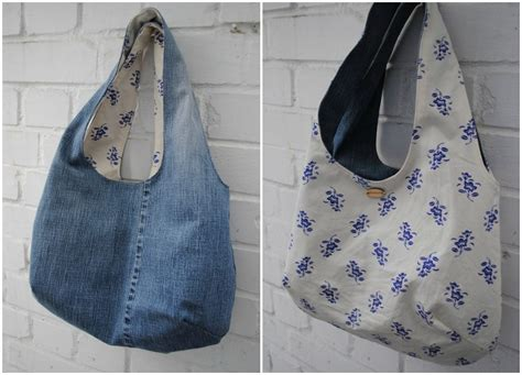 Reversible Denim Purse Or Bag Made From Recycled Jeans