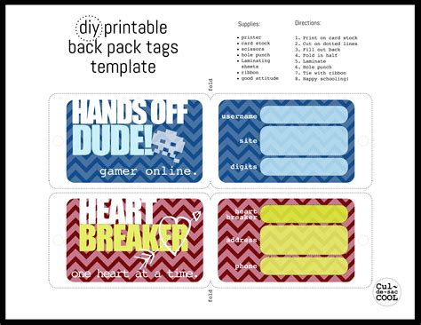 Diy Printable Back Pack Tags Bag Tag Template