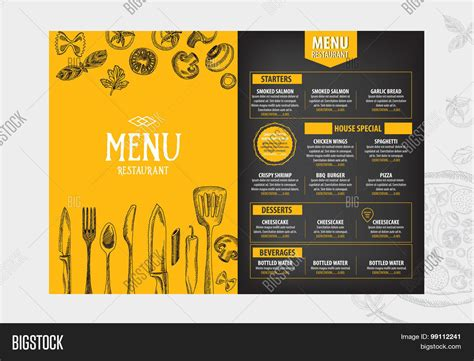 Cafe Brochure Design by Cafe Menu Restaurant Brochure Vector Photo Bigstock