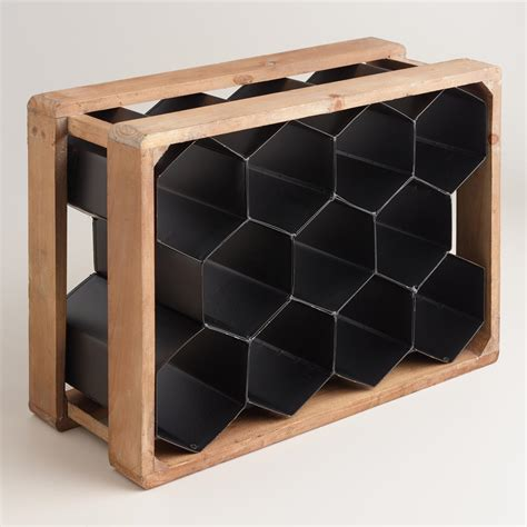 Metal Wood Rack by Metal And Wood Honeycomb 11 Bottle Wine Rack World Market
