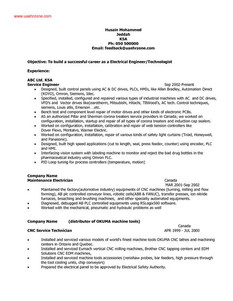 Resume Sles For Electricians Maintenance Electrical Technician Resume Sle Resume Cv Cover Letter