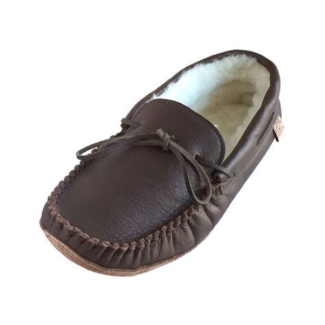 mens best slippers mens sheepskin lined brown leather moccasin slippers